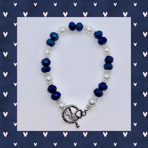 Blue Iridescent, White Pearl and Silver Bracelet